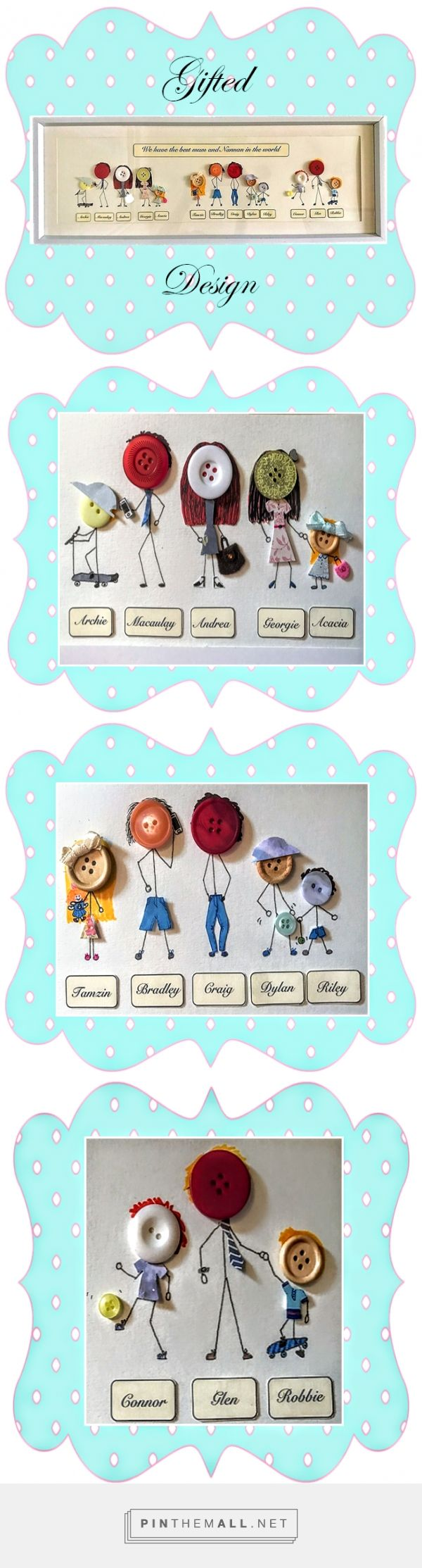 Button Family Frame Unusual gifts Family portrait custom Family print Family tre...