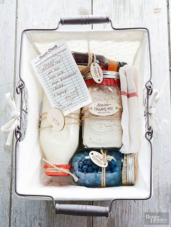 Pankcake Gift Basket - a creative handmade food gift basket for the holidays. Pa...