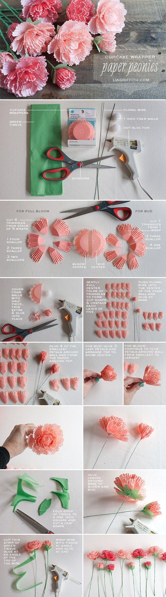 Cupcake Wrapper Peonies - Make Her Some Fabulous Mothers Day Flowers That Last F...