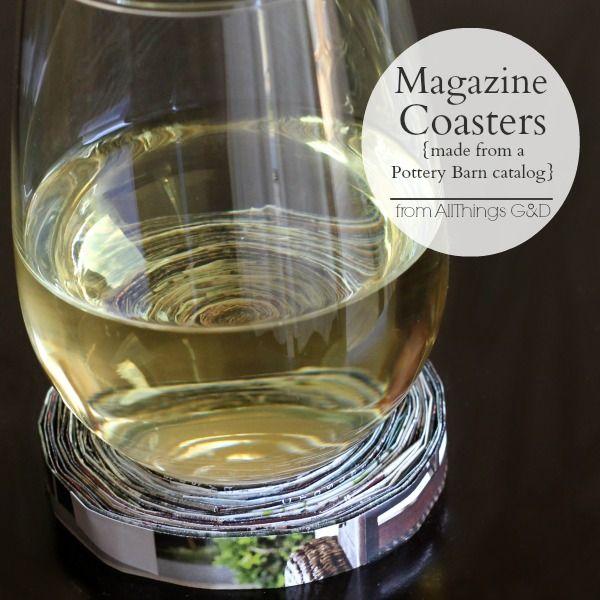 DIY Magazine Coasters made from a Pottery Barn catalog - makes a great housewarm...