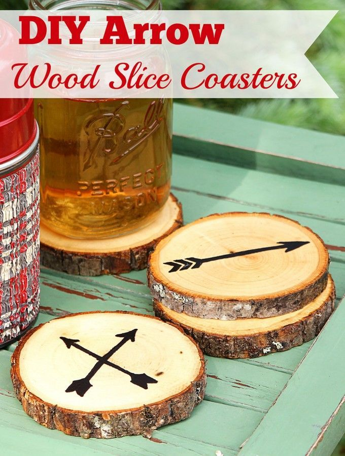 Birthday Gifts Super Easy DIY Arrow Coasters Made From Craft Store Wood Slices No Fancy