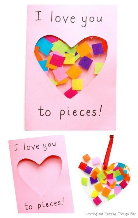 A super cute I Love you to Pieces suncatcher card to make for Valentines Day or ...
