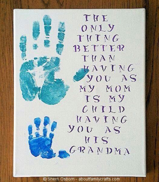Mother S Day Gift Ideas Handprint Canvas Diy Mothers Day Crafts