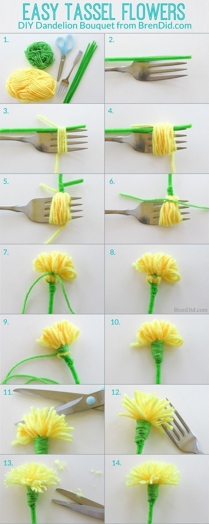 How to make tassel flowers - Make an easy DIY dandelion bouquest with yarn and p...