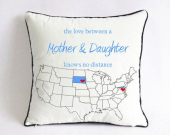 Long Distance Mom Daughter Cushion Cover Birthday Gift Xmas Mothers Day