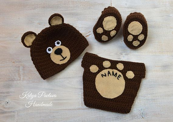 e61cec31d Baby bear outfit/clothes Personalized gifts boy/girl Knit newborn hat  Crochet sh.