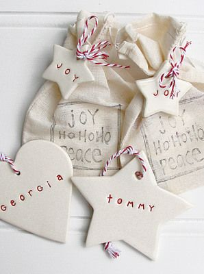 From Australia personalised hand stamped Christmas ornaments in an adorable bag ...