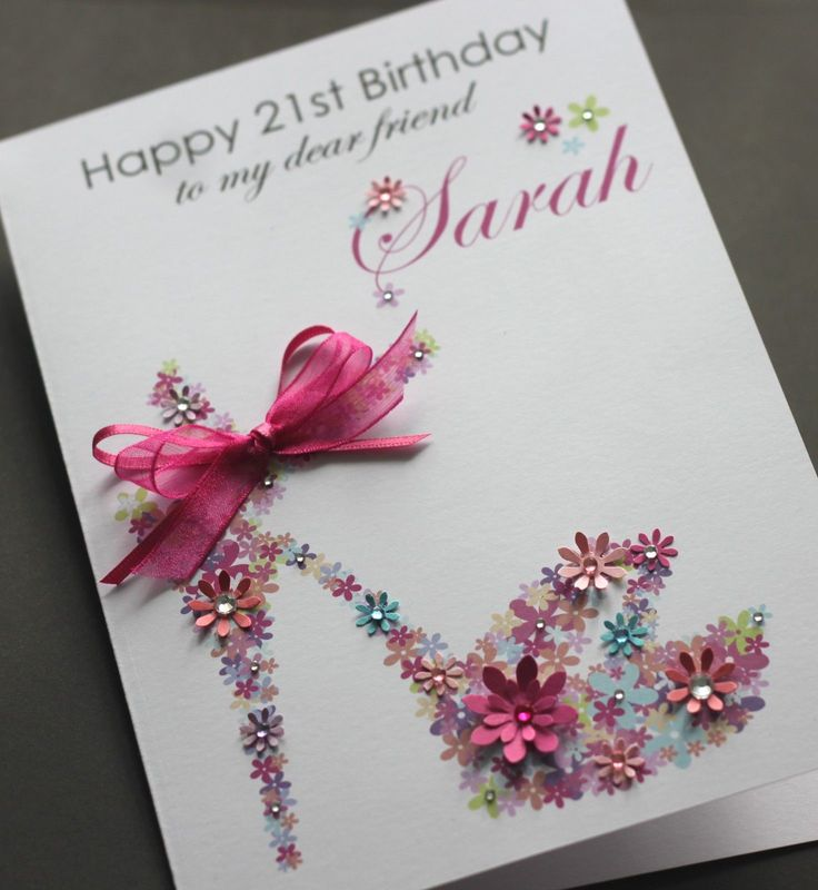 Personalised Gifts Ideas LARGE A5 Handmade FLORAL SHOE Birthday Card Sister Friend Mum