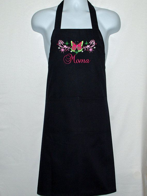 Mom Apron Butterfly Custom Birthday Gift Personalize Any Name Mommy Nina
