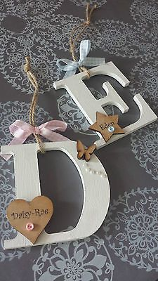 PERSONALISED Letter Initial Girl boy new baby gift CUTE SHABBY CHIC HANGING in P...