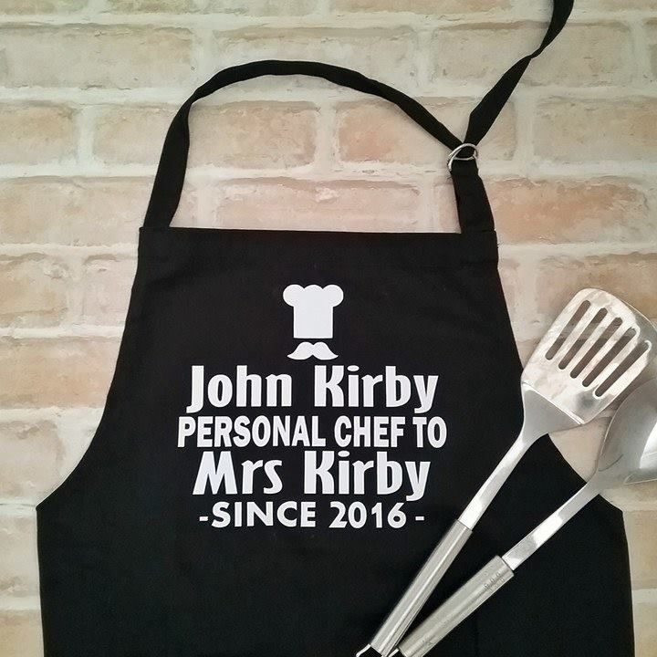 Personalised Apron Gifts, Funny Aprons, Personalised Gift for him, 2nd anniversa...