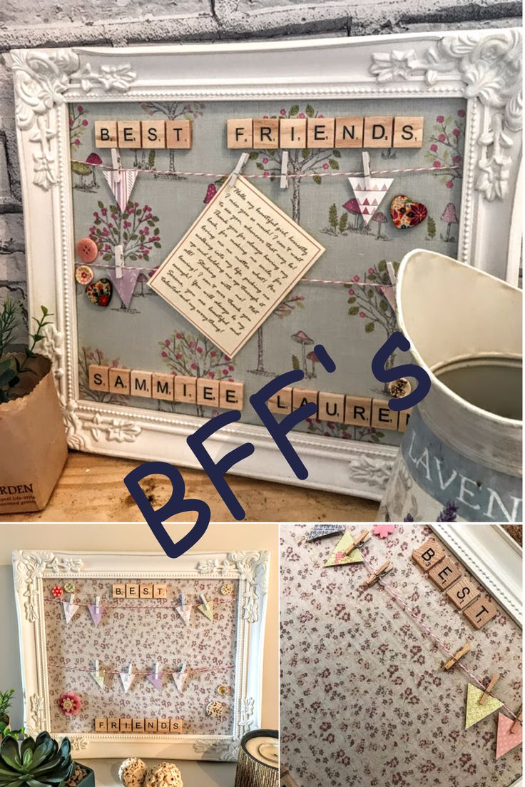 Peg frame Gift for best friend Photo frame Bunting frame Gifts for her Vintage S...