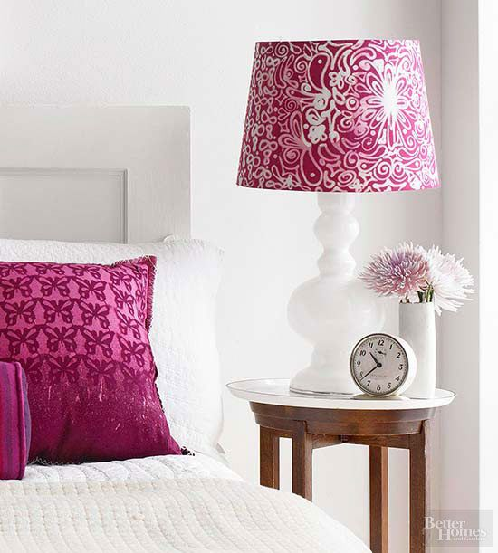 If your loved one is a big fan of fun color, mix things up with a lampshade deco...