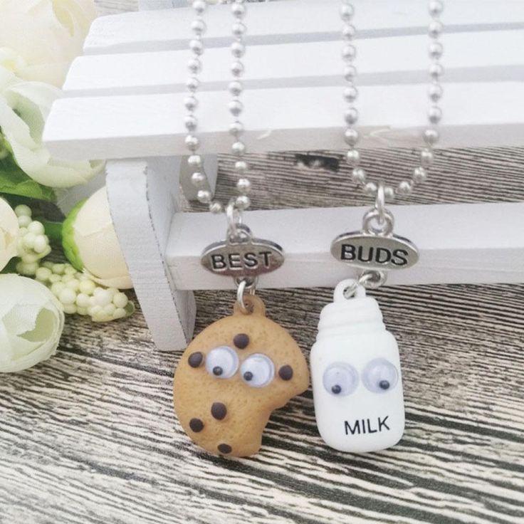 77263c4072 2pcs Best Buds Cookie and Milk Necklace Set Pair Drink Friendship Friends  Food #.