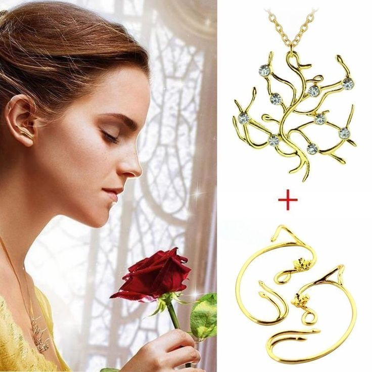 Beauty and the Beast Rose Vine Ear Cuff & Tree Necklace Earrings Set Belle Emma ...