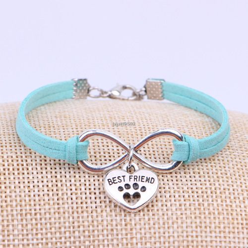Birthday Gifts For Girls Best Friend Paw Print Bracelet Friendship Dog Cat Pet Love Infinity Charm Heart
