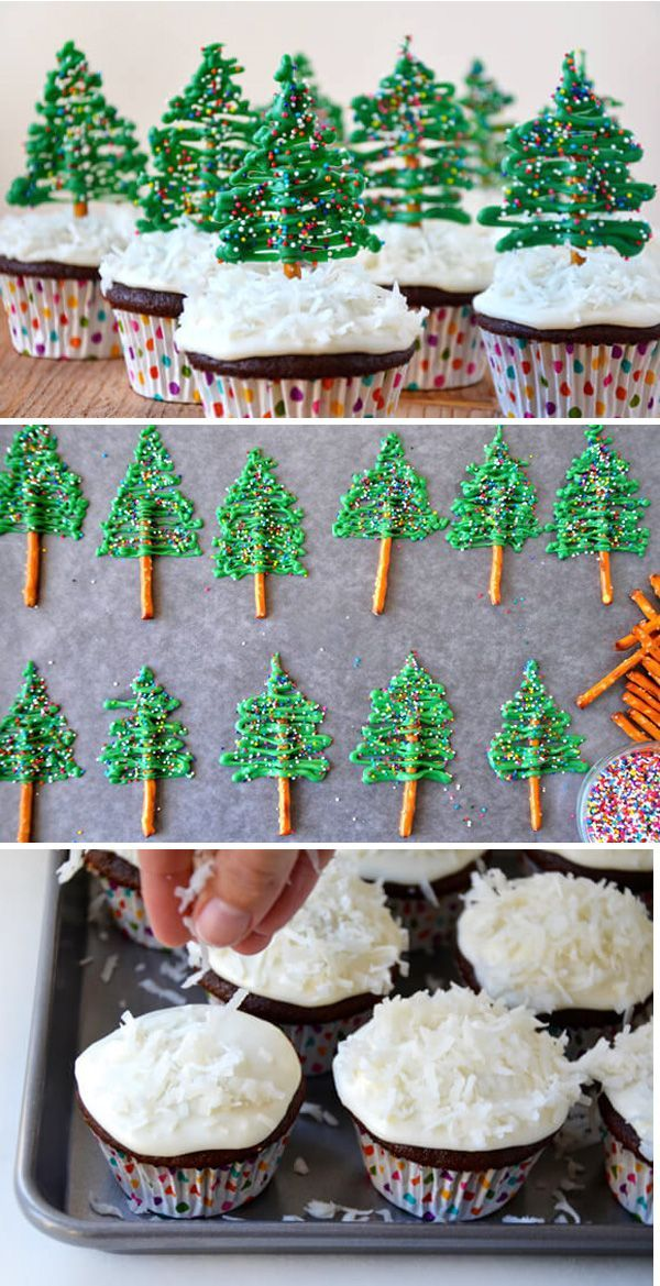 Christmas tree cupcakes. Decorate your simple chocolate cupcakes into cute littl...