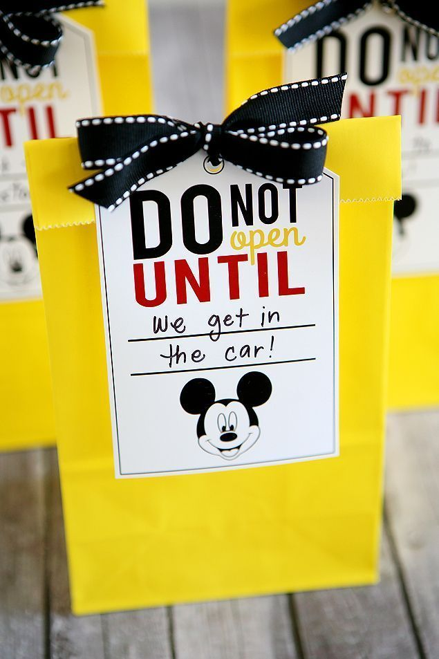 Disney Trip Fun Bags! Great way to get the kids excited!