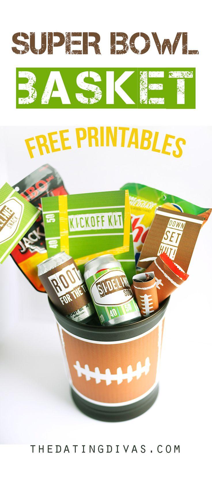 Free printables to make your man his own Super Bowl Basket Kickoff Kit - a footb...