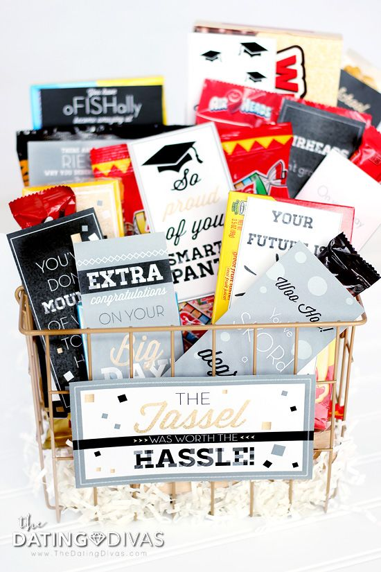diy gifts graduation gift basket with clever candy sayings