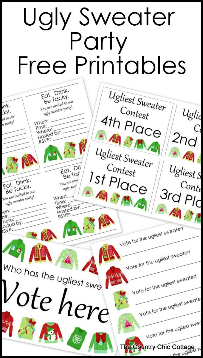 Great free printables for your ugly sweater party. Print invitations plus everyt...