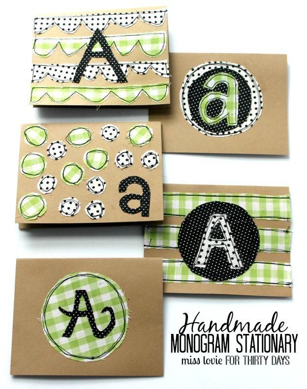 Handmade Monogram Stationery - super cute DIY cards from Miss Lovie via www.thir...