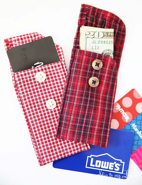 Recycled shirt cuff gift card pouches. An easy DIY handmade gift idea