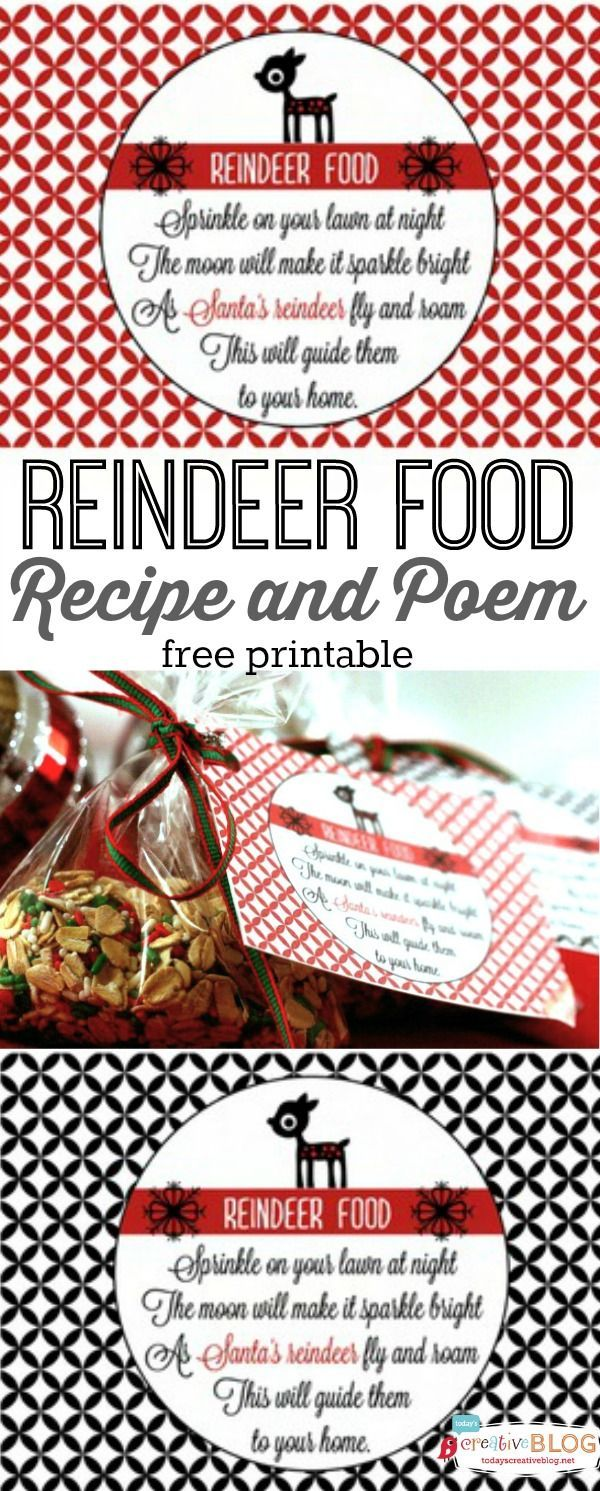 Reindeer Food Recipe and Poem | Free Christmas Printable | Make up a batch of re...