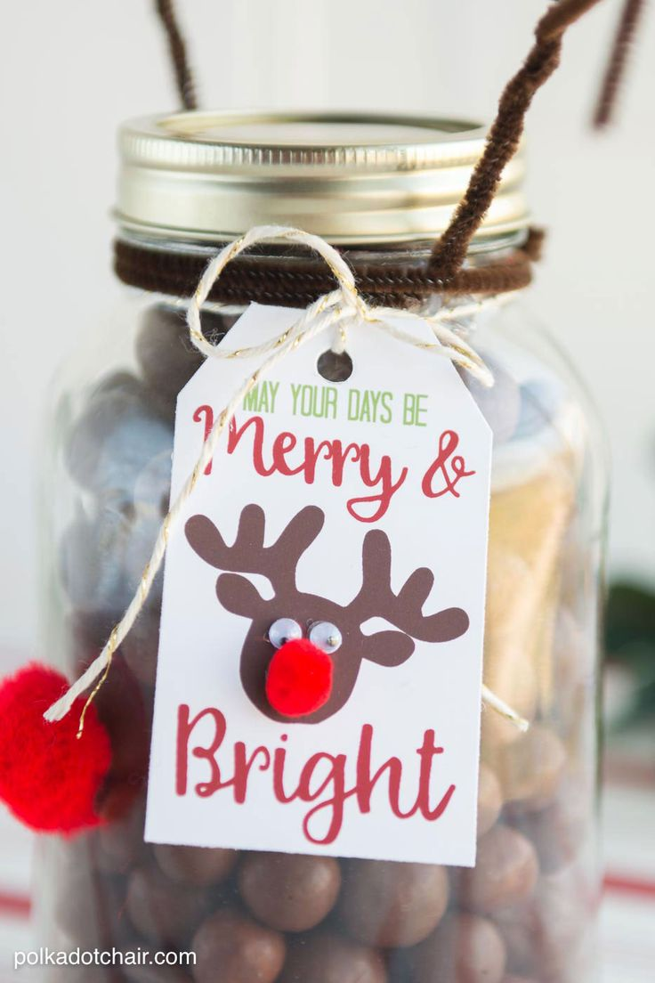Reindeer Mason Jar Christmas Gift idea, so cute and easy. Would make a fun neigh...
