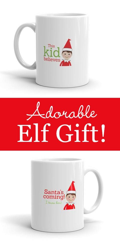 This sturdy white, glossy ceramic mug is perfect for Christmas Elf gift giving! ...