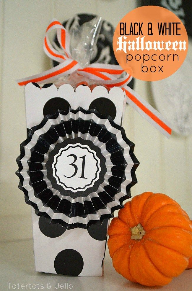 black and white halloween popcorn box printable