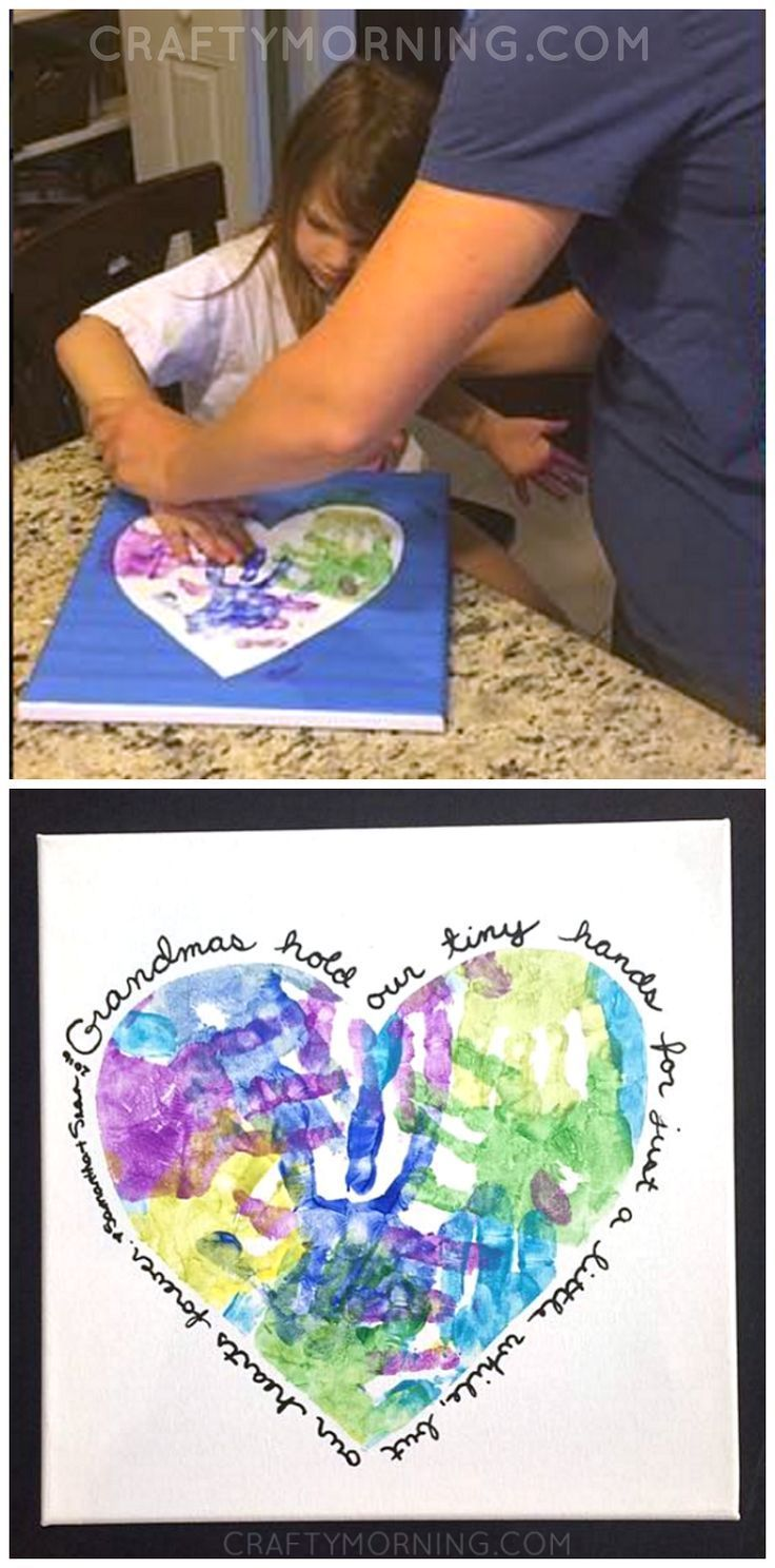Mother S Day Gift Ideas Heart Handprint Canvas For Grandma