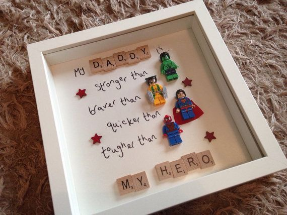 My Daddy is My Hero, Marvel Superhero, Fathers Day Gift, Lego, Scrabble Frame, G...