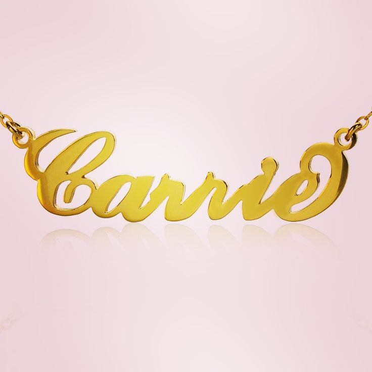 18ct Gold Plated Carrie Style Name Necklace