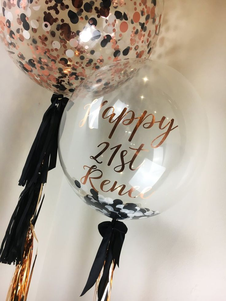 60cm helium filled confetti balloons with custom confetti for a 21st birthday in...