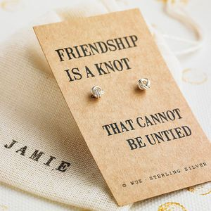personalised gifts ideas friendship knot silver earrings earrings personalised gift ideas for best friend gift ideas