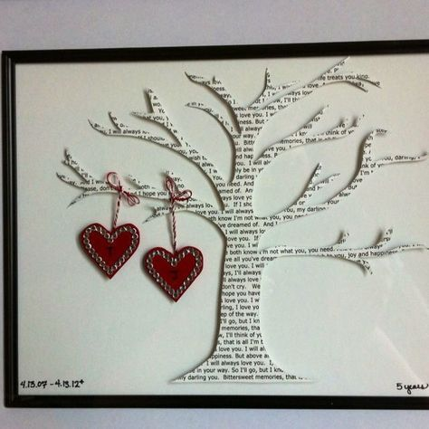 Great anniversary gift! Cut out lyrics to your wedding song or your favourite lo...