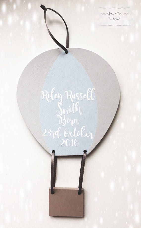 Personalised gifts ideas hot air balloon personalised gift new hot air balloon personalised gift new baby gift name gift room sign negle Images