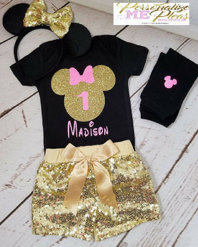 Minnie Mouse Birthday Outfit Girls Gold And Pink Outf