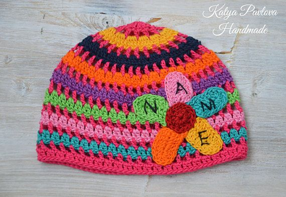 7e2f5fda1c937 Personalised Gifts Ideas : Rainbow baby girl cotton beanie ...