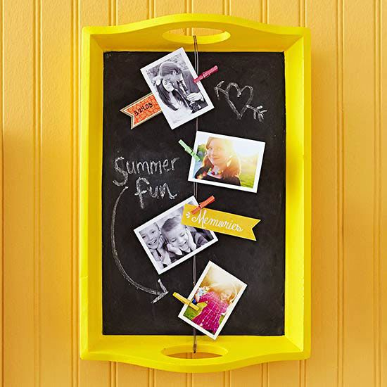 A seldom-used or thrifted wooden tray easily transforms into an adorable chalkbo...