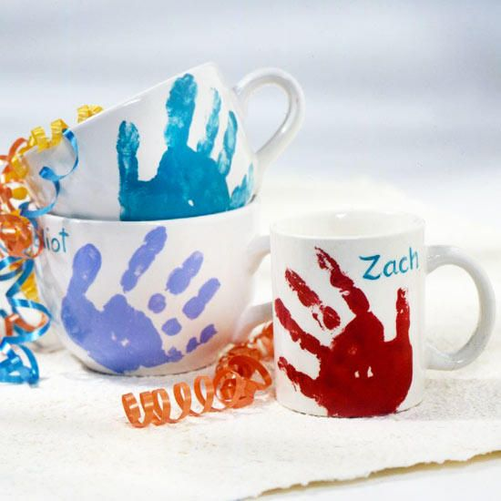 Hands down these are the cutest mugs around! Grab the kids and DIY a personalize...