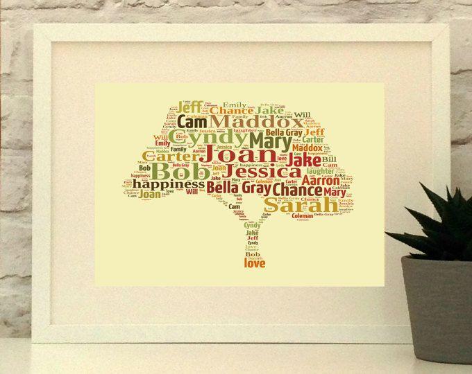 Personalised Gifts Ideas : Family Tree Print, Personalised, Custom ...