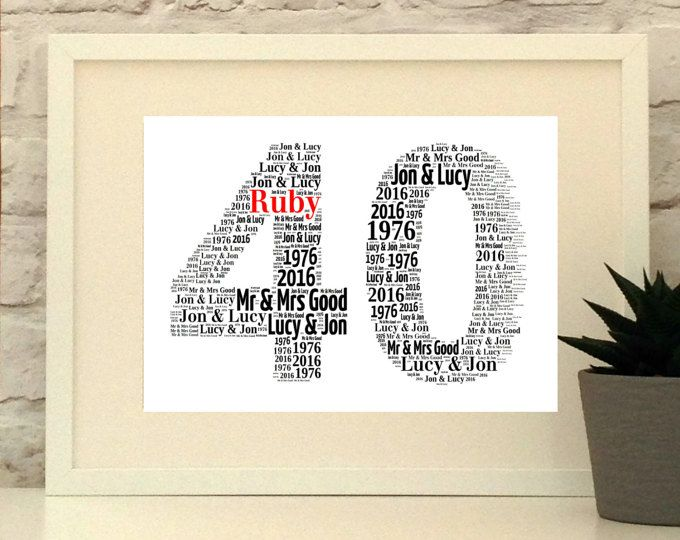 Personalised Gifts Ideas Ruby Wedding Gift 40 40th Wedding