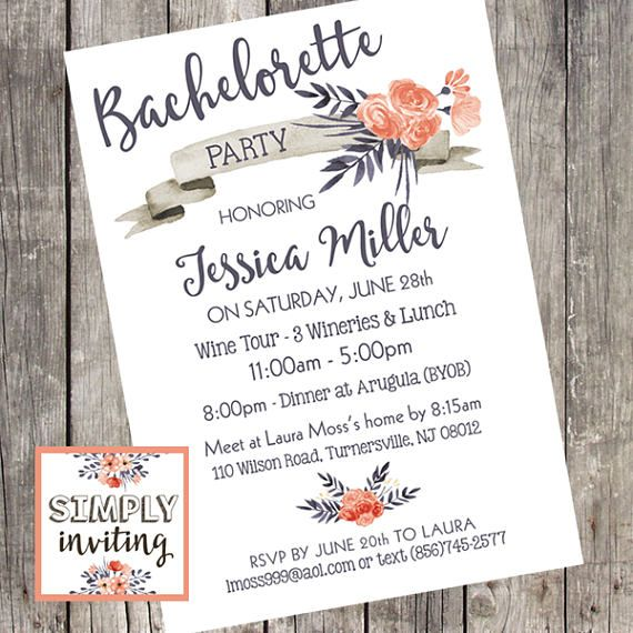 Personalised Gifts Ideas Bachelorette Party Invitation
