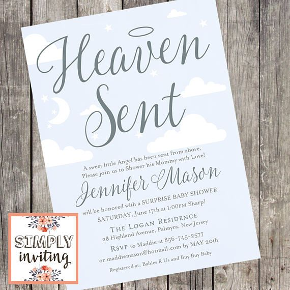 Personalised Gifts Ideas Heaven Sent Baby Shower Invitation