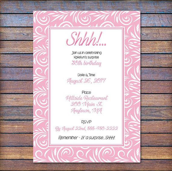 Surprise Birthday Invite, Invite for her, Surprise Party Invite, Digital Party I...