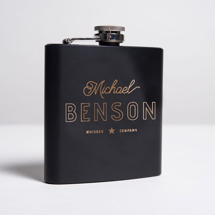 23478003ffe6 Personalised Gifts For Him   Personalised Matte Black Hip Flask ...
