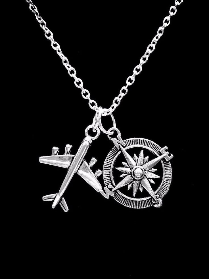 1pc Compass Rose Airplane Necklace Best Friend Plane Travel Sister Daughter BFF ...
