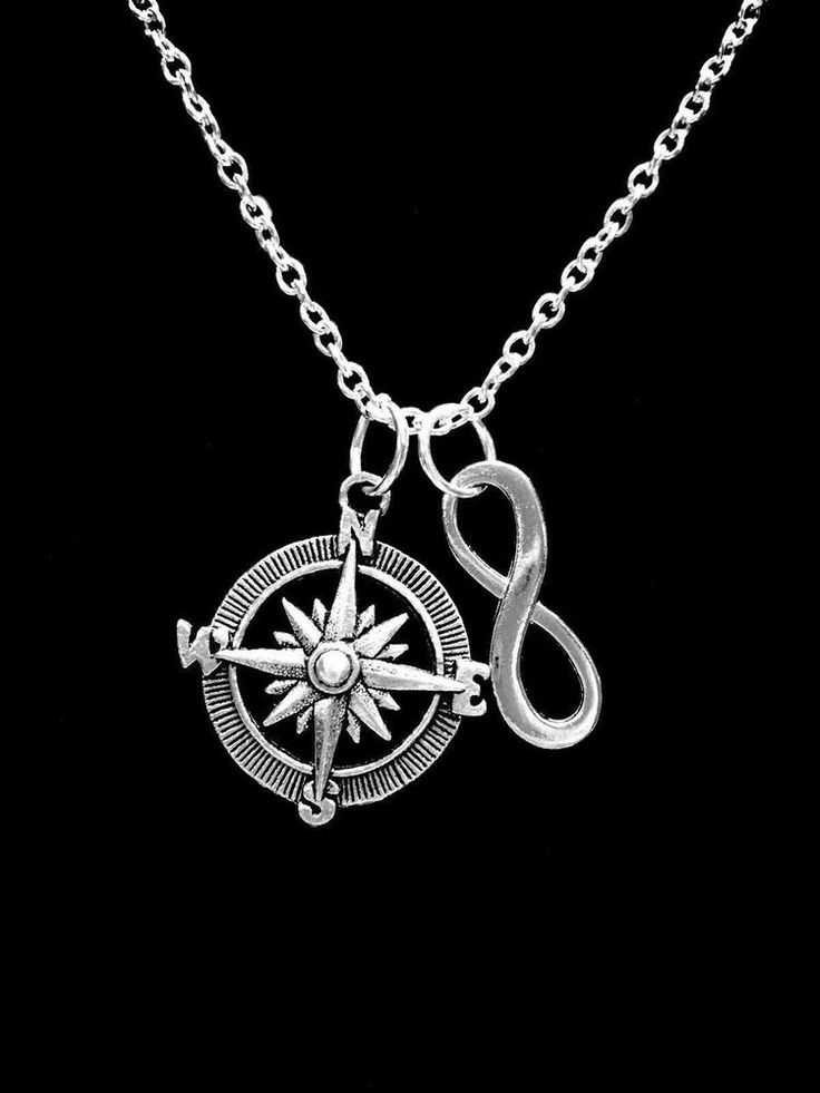 1pc Compass Rose Infinity Love Necklace Best Friend Geocacher Sister Daughter #H...